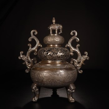 清代,银錾刻凤穿花纹葫芦式香薰炉-收藏网