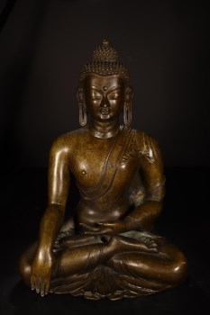 清代,铜释迦牟尼坐像-收藏网