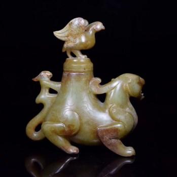 旧藏,高古战汉玉雕瑞兽盖罐摆件-收藏网