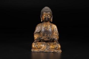 清代,铜漆金释迦牟尼坐像-收藏网