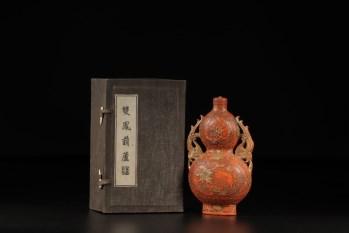 清代,朱砂双凤葫芦瓶-收藏网