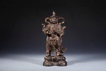 清代,铜漆金韦陀立像-收藏网
