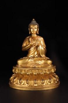 清代:【铜鎏金「释迦牟尼」坐像】-收藏网