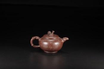 旧藏,名家款紫砂竹节蜗牛壶-收藏网
