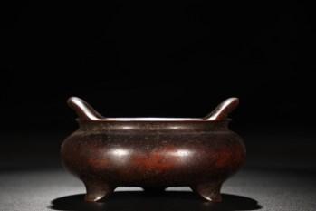 明 精铸铜胎桥耳炉-收藏网