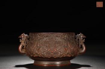 明 精铸铜胎牡丹纹凤首耳炉-收藏网