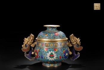 清 精铸铜胎景泰蓝掐丝珐琅鱼耳熏炉-收藏网