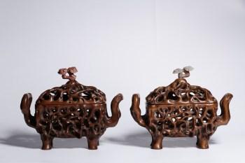 清代:黄杨木嵌寿山石灵芝钮镂空香薰炉一对 -收藏网
