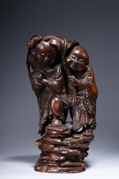 清代:竹雕和合二仙立像-收藏网