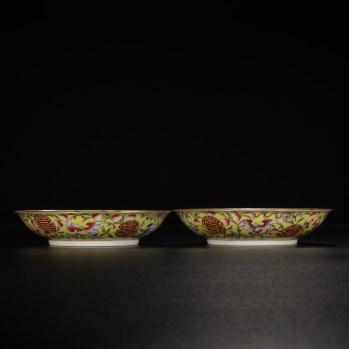 大清光绪年制款 黄地粉彩描金福寿盘一对-收藏网