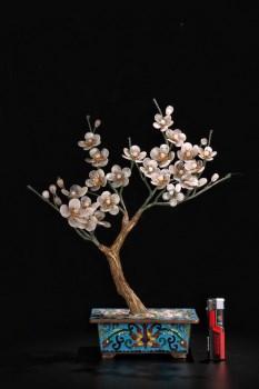欧洲回流:【铜胎景泰蓝镶玛瑙梅花树盆景】-收藏网