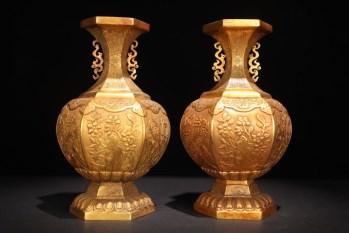 回流:【铜鎏金「如意花卉」赏瓶一对】-收藏网
