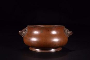 清代:兽耳铜炉-收藏网