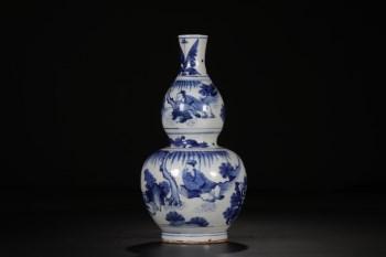 清 青花人物故事葫芦瓶-收藏网
