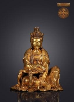 明 精铸铜胎鎏金自在观音坐像-收藏网