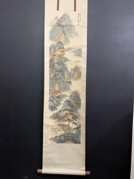 钱松嵒山水图画芯尺寸132*32-收藏网