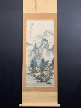 日本回流原装原裱山水图画芯尺寸102*43-收藏网
